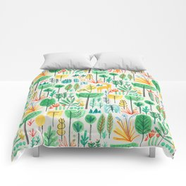 Jungle life with golden unicorn Comforters