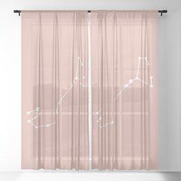 Scorpio Zodiac Constellation - Pink Rose Sheer Curtain
