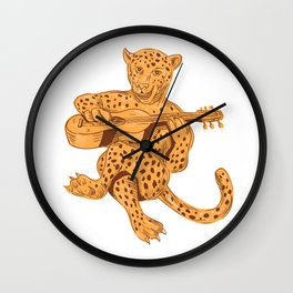 Jaguar Playing Guitar Drawing Wall Clock