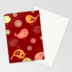 Birds on red Stationery Cards