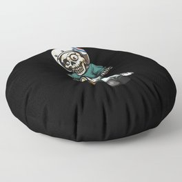 the skeleton ride motorcycle Floor Pillow