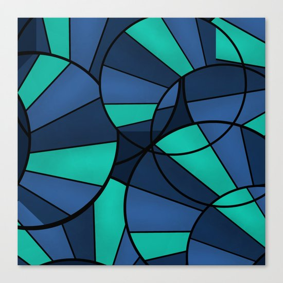 With blue turquoise and black abstract pattern . Canvas Print