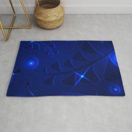 Marine pattern underwater plant elements dark blue glowing ethnic style. Rug