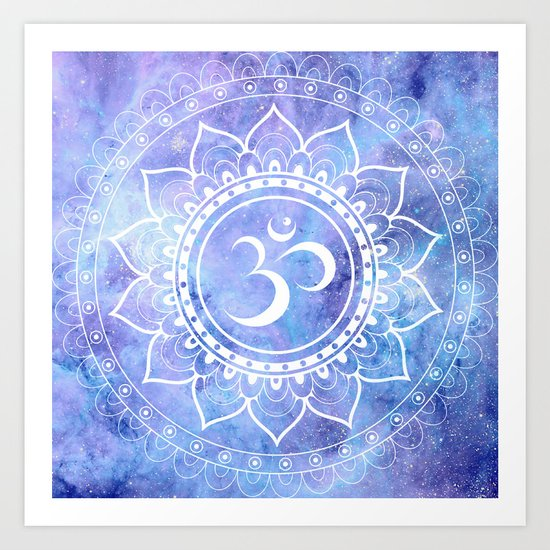 Om Mandala Lavender Perinwinkle Blue Galaxy Space Art Print