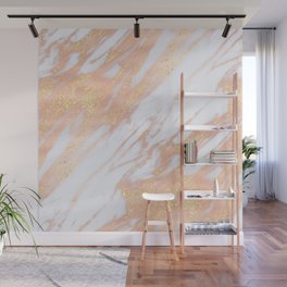 Marble - Rose Gold with Yellow Gold Glitter Shimmery Marble Wall Mural