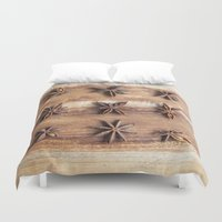 baking Duvet Covers featuring Stars and Stripes of Baking - Star Anise by Jean Ladzinski