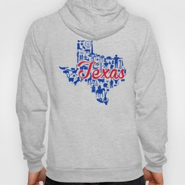 SMU Texas Landmark State - Red and Blue Southern Methodist University Theme Hoody