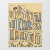 waves Canvas Prints featuring Ocean of love by Huebucket