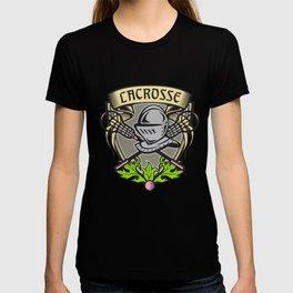 Knight Armor Lacrosse Stick Crest Woodcut T-shirt