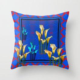 white Calla Lilies Blue & Red Pattern Art Throw Pillow