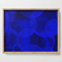 Abstract soap of ultramarine molecules and transparent bubbles on a deep blue background. Serving Tray