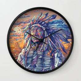 native american portrait-red cloud Wall Clock