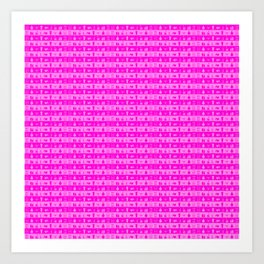 Bright Neon Pink Womens Makeup and Beauty Stripes Art Print