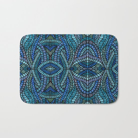 Blue Geometric Mosaic Bath Mat