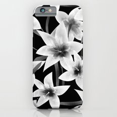 White lilies on a black background . Slim Case iPhone 6s