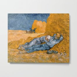 "Vincent van Gogh - Noon Rest From Work (A ""Copy"" of a Jean-François Millet Work) Metal Print"