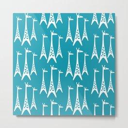 Mid Century Modern Giraffe Pattern 221 Turquoise Metal Print