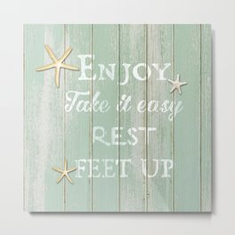 Call to Relax, on Reclaimed Wood Background Metal Print