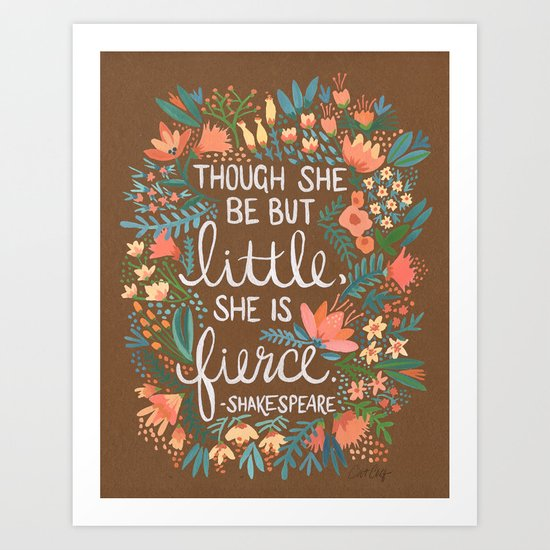 Little & Fierce on Kraft Art Print