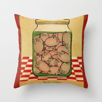 clueless Throw Pillows featuring Pickled Pig Revisited by Megs stuff...