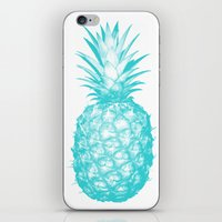 pinapple iPhone & iPod Skins featuring Teal Pineapple by CumulusFactory