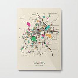 Colorful City Maps: Columbia, Missouri Metal Print