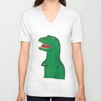 t rex V-neck T-shirts featuring T-Rex by Yana Elkassova