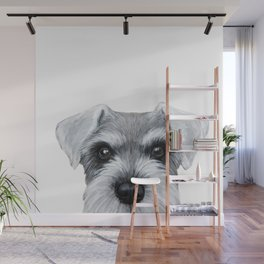 Schnauzer grey S Dog illustration original painting print Wall Mural