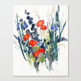 Eucalyptus & Iris with Vermillion Canvas Print