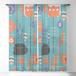 Modern birds and sleepy cats Sheer Curtain