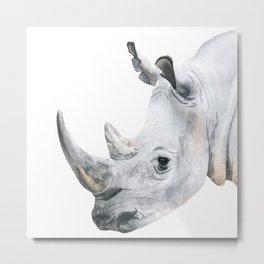 Watercolor Rhino Handpainted African Animal Art Rhinoseros Painting Safari Animals Big Five Portrait Metal Print
