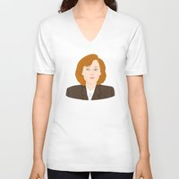 dana scully V-neck T-shirts featuring Dana Scully by Anna Valle