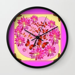 Fuchsia Pink Monarch Butterfly Abstract Wall Clock