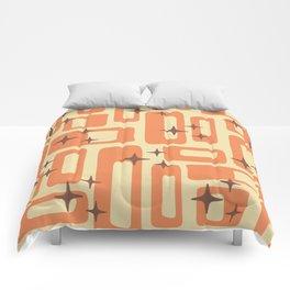 Retro Mid Century Modern Abstract Pattern 577 Orange Brown Comforters