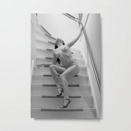 Beautiful woman Nude on a Stairs Metal Print