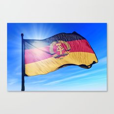East Germany flag (1949 to 1990) waving on the wind Canvas Print