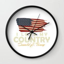 USA I LOVE MY COUNTRY Wall Clock