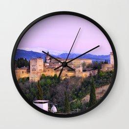 La Alhambra, Sierra Nevada and Granada. At pink sunset Wall Clock
