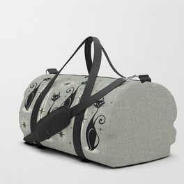 Mid Century Meow Retro Atomic Cats - Gray Duffle Bag