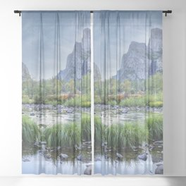 Valley View 6668 Pano - Yosemite National Park, CA Sheer Curtain
