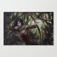 katniss Canvas Prints featuring Katniss by jasric