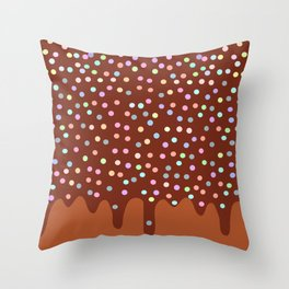 Dripping Melted chocolate Glaze with sprinkles Throw Pillow