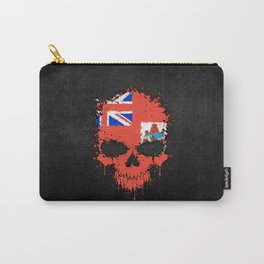 Flag of Bermuda on a Chaotic Splatter Skull Carry-All Pouch