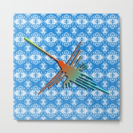 Nazca Lines Hummingbird On Abstract Background Metal Print