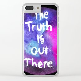 Truth Is  Out There Pink & Purple Nebula Clear iPhone Case
