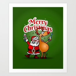 Merry Christmas - Santa Claus and his Reindeer Art Print
