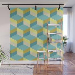 Lemony 3D cubes optical art pattern Wall Mural