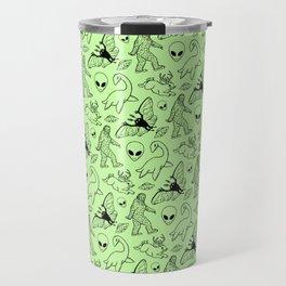 Cryptid Pattern: Black on Green Travel Mug
