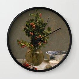 Henri Fantin Latour - Still Life With Vase Of Hawthorn Wall Clock