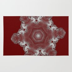 Spectacular fractal snowflake on textured red Rug